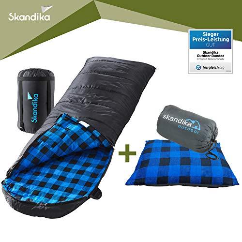 skandika Dundee Decken-Schlafsack, Qualität, Baumwolle/Flanell Innenfutter, bis -20°C, 220x80 cm, koppelbar (Schwarz RV Links + Sleepyhead-Kissen (blau))