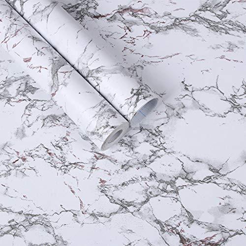 MYBOON Rollo de Papel Pintado de Vinilo de mármol Autoadhesivo para Muebles, película Decorativa Impermeable, Adhesivo para Pared, Color Blanco