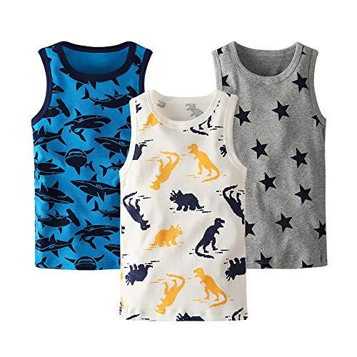HUAER& Toddler Boys' 2-3 Pack Tank Tops (3T, Dinosaur/Shark/Star)