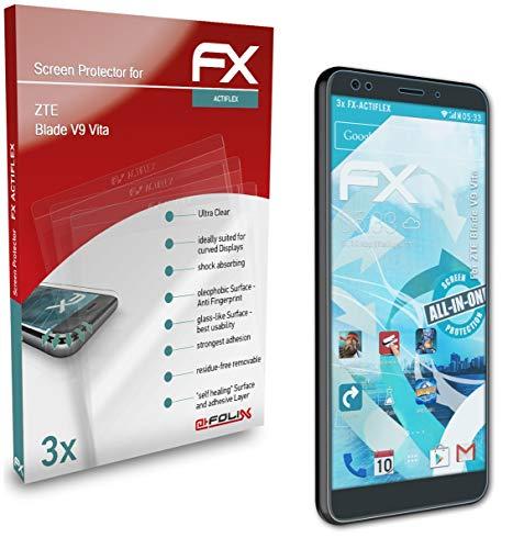 atFolix Schutzfolie kompatibel mit ZTE Blade V9 Vita Folie, ultraklare & Flexible FX Bildschirmschutzfolie (3X)