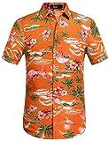 SSLR Camicia da uomo hawaiana a maniche corte, con stampe in 3D di fenicotteri, ideale per il tempo libero Colore: arancione. L