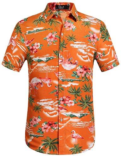 SSLR Camisa Manga Corta con Estampado de Flamencos y Flores