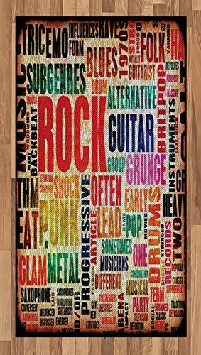 ABAKUHAUS Música Alfombra de Área, Retro Símbolo de Rock and Roll Tipografía Colores Desgastados Antaño Tema Música, Ideal para Sala de Estar o Comedor Resistente a Manchas, 80 x 150 cm, Multicolor