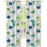 YUAZHOQI Cortinas para sala de estar, acuario, peces tropicales y algas, cortinas opacas para dormitorio de 132 x 241 cm (2 paneles)