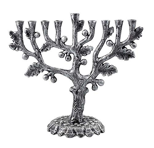 Zion Judaica Hanukkah Menorah Artistic Olive Tree Menorah (Antique Silver)