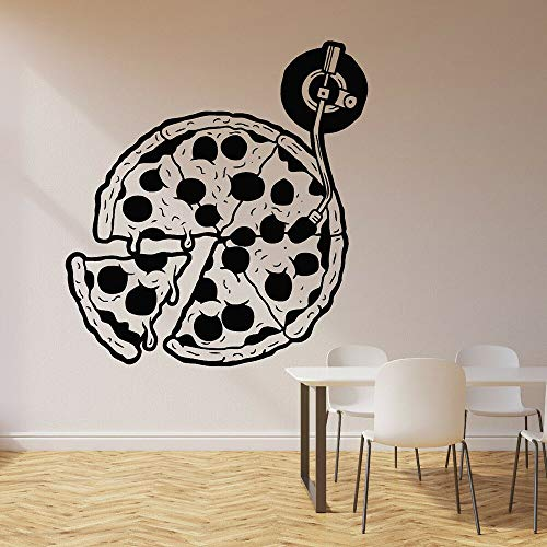 Pizza Muursticker Keuken Decoratie Vinyl Muursticker Pizzeria Restaurant Retro Record Art Sticker Behang Huisdecoratie Restaurant 57X61 CM Zacht Roze