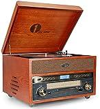 1byone Giradischi Vintage Classico in Legno Giradischi Wireless Nostalgia per Vinili con AM/FM, CD, MP3, Registra su USB, Ingresso AUX per Smartphone e Tablet e Uscita RCA