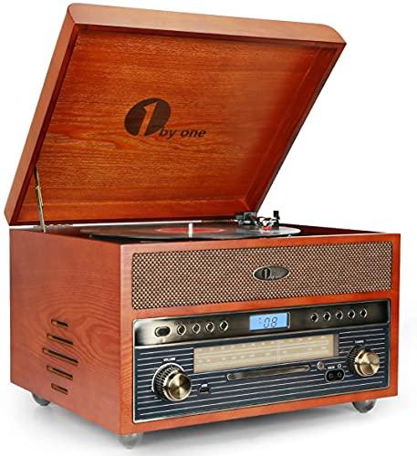 1 BY ONE Tocadiscos Nostalgic de Madera Wireless Reproductor de Discos de Vinilo con Am, FM, CD, grabación de MP3 a USB, Entrada AUX para Smartphones y Tablets y Salida RCA