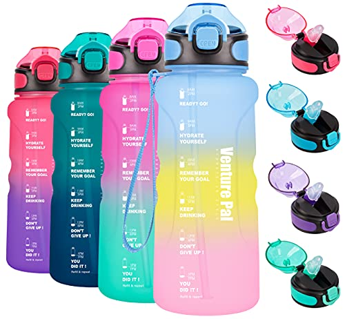 Venture Pal 32oz Motivational Water Bottle with Time Marker & Straw, Leakproof BPA Free Water Jug to Ensure You Drink Enough Water Throughout The Day-Purple/Yellow/Pink Gradient