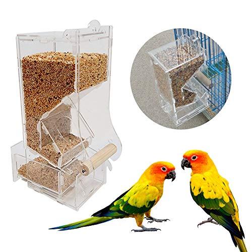 Hongzer Automatische Vogelfutterautomat für Käfige, Acryl-Haustier-Vogelfutterautomat, automatische Haustier-Vogelfutterautomat, Vogelfutterzubehör