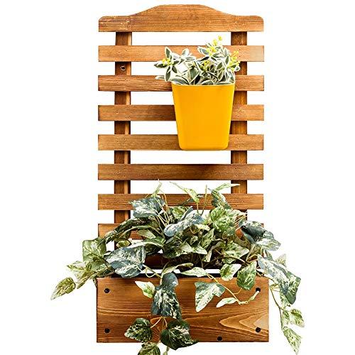 JANRON Montaggio a Parete Fioriera con Grigliato in Legno da Giardino Vaso per Piante Rampicanti con Griglia Resistente Beige - L:30XW:16XH:60cm