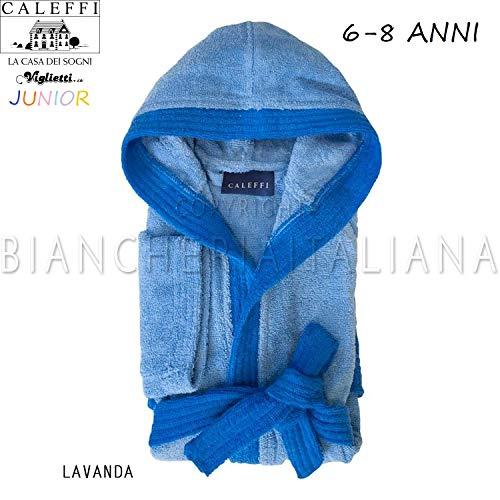 Viglietti Peignoir Enfant Junior spugnissima Double Fil torsadé 100% Coton 400 GR/mQ- Boîte Boîte Cadeau Caleffi – Lavande (6/8 Ans)