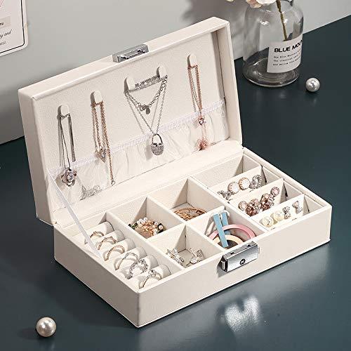 Jewelry Box Organizer para Mujeres niñas, Pantalla de joyería Estuche para el Soporte para el Collar Pendientes Pendientes Pulseras Anillos,Blanco