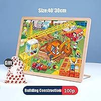 クラシックパズルゲーム ストレージでは100Pieces木製ジグソーパズルゲームAge3 +パズル子供のための現代のホームインテリアフェスティバルギフト知的ウォールアートスタンド 頑丈で簡単 (Color : H)