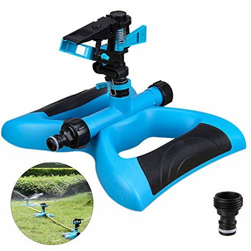 munloo Aspersor Jardín, Aspersor Premium para Regar Grandes Areas de hasta 360 Grados, Pulverizador Agua Giratorio Automático para Césped, Jardín (Azul)