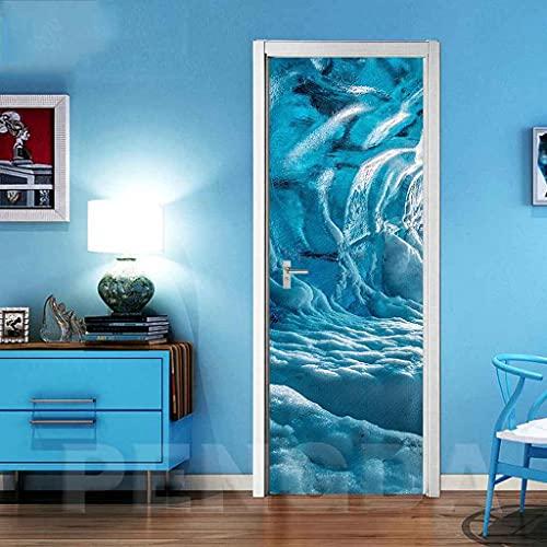 NXCNTD 3D Mural puerta Paisaje glaciar azul Navidad Fondo pantalla poster paisaje armario Decoración Hogar Vinilo Infantiles Guardería Niños extraíble Sala Estar Cocina Sala de Baño 80x210cm
