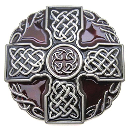 MASOP Round Celtic Trinity Rope Knot Cross Belt Buckle Scottish Kilt Zinc Alloy