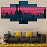 MMSY Cuadro Lienzos Decorativos 5 Piezas Cuadros Decoracion Salon Modernos Grandes Dormitorios XXL Impresión Pintura Ciudad Moderna neón Rosa (Marco)