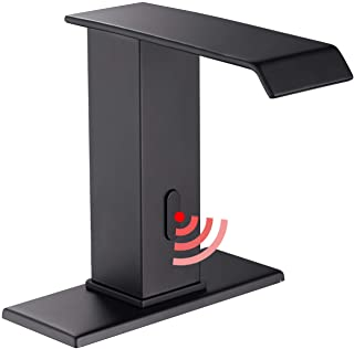 GGStudy - Grifo para lavabo de baño con sensor automático, color negro mate, sin contacto, con placa de cubierta, grifos d...