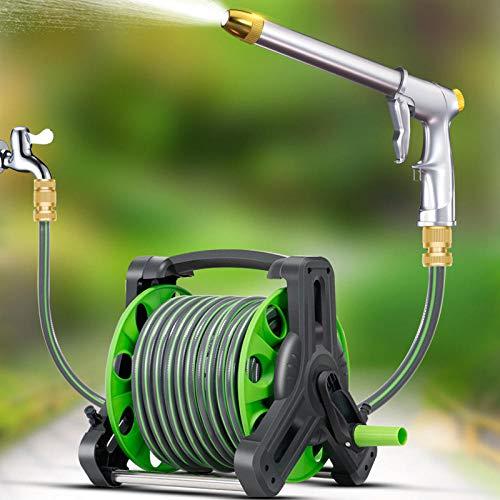 Hongzida garden spray gun gardenswatering Water gun hose water pipe-Water pipe truck set + 25 meters water pipe