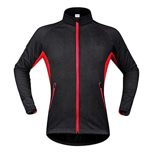 TDHLW Chaqueta de Ciclismo Hombre Mujer Invierno TéRmico a Prueba de Viento Abrigo Impermeable Softshell Abrigo Calentamiento Forro Polar Transpirable Prendas de Abrigo de Ciclismo,Rojo,3XL
