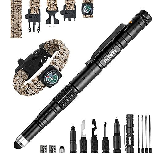 TOSFFICE Geschenke für Männer, 15 in 1 Taktischer Stift mit Taschenlampe, Multifunktions Tactical Pen mit Gadgets Camping Männer Geschenke Multifunktionsstift Geschenkideen für Papa Opa Handwerker