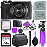 Canon PowerShot G7 X Mark III Camera w/ 1 Inch Sensor & 4k Video - Wi-Fi & Bluetooth Enabled (Black) & LED Video Light, 64GB Transcend Memory Card, Extra Battery + Accessory Bundle