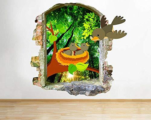 HQSM Pegatinas de pared Nido de pájaros para niños, calcomanía de pared rota, pegatinas de arte 3D, habitación de vinilo