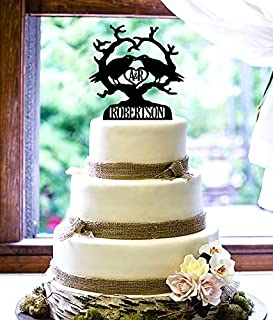Personalized Cake Topper - Kissing Birds