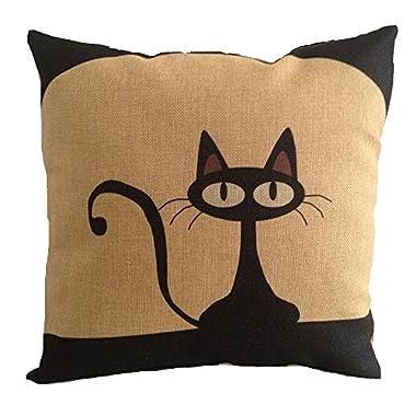 heartybay 18 X 18 Inch Cotton Linen Decorative Throw Pillow Cover Cushion Case, Cartoon Black Cat (E)
