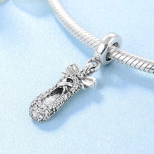 DASFF Liebe Tanzen Bogen Ballettschuhe Perlen Charme 925 Sterling Silber CZ Anhänger Fit Original DIY Armband Schmuckherstellung