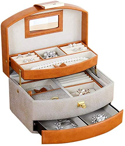 Jewelry Box for Women, Portable Jewelry Box Large Capacity Multi-layer Leather Storage Box Lockable Jewelry Case with Mirror Travel Case Jewelry Organizer(orange) Organizer Multipurpose Treasure Chest