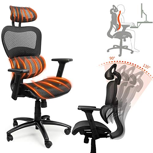 Ergousit Ergonomic Office Desk Chair Adjustable Headrest 3D Flip-up Armrests Seat Height Ergonomic Computer Chair,Executive, Drafting, Gaming or Office Chair