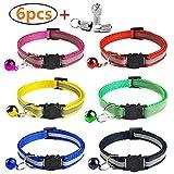 YHmall 6 Stück Nylon Katzenhalsband Reflektierendes + 2 Stück Anhänger mit sicherheitsverschluss und Glocke, Verstellbar 20–30 cm, Coole Halsbänder für Hauskatzen, Kleine Hunde MEHRWEG