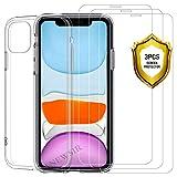 ANEWSIR pour iPhone 11 6.1 2019 Verre Trempé Protection écran[3-Pièces] + Coque...