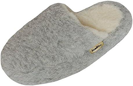 SamWo, Pantuflas unisex de lana de oveja, suela suave antideslizante, 100% lana de oveja, color gris claro, talla: 35-48, color Gris, talla 47/48 EU
