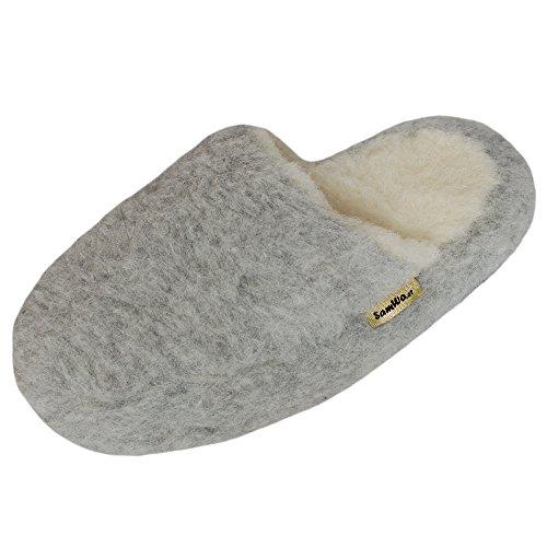SamWo, Schafwoll-Wohlfühl-Hausschuhe/Pantoffeln,weiche rutschfeste Sohle,100% Schafwolle, Größe: 43-44 HGR