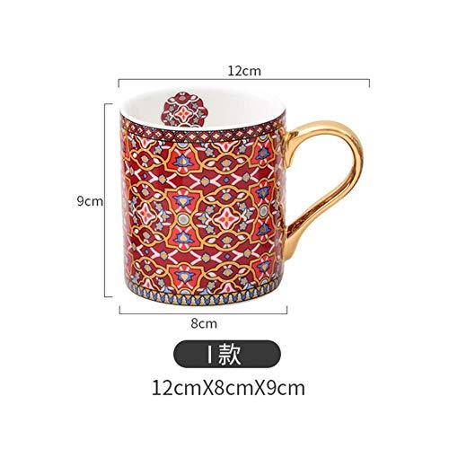 Gbcype, vintage textuur, koffiemok met gouden handgreep, in Marokkaanse stijl, theekopje van keramiek voor mama, dames, moeder, meisjes, bruiloft, 300 ml