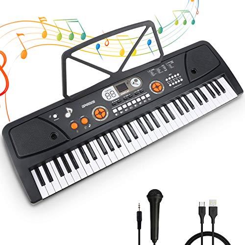 Digital Keyboard, Elektronische Klaviertastatur 61 Tasten,Tragbare Elektronische Klaviertastatur inklusive Notenhalter Mikrofon & Ständer, Spielzeug Geschenk für Kinder und Einsteiger (Schwarz)