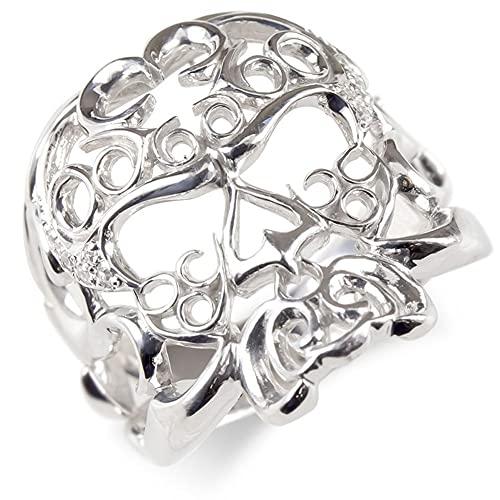 [アトラス] Atrus リング メンズ 10金 ホワイトゴールドk10 ダイヤモンド ドクロ 透かし 指輪 ピンキーリング 幅広 スカル 髑髏 29号