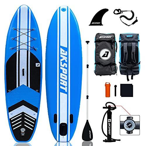 AKSPORT Tabla de surf de remo hinchable de 10,6 pulgadas, 320 x 81 x 15 cm, 6 pulgadas de grosor, prémium y accesorios completos