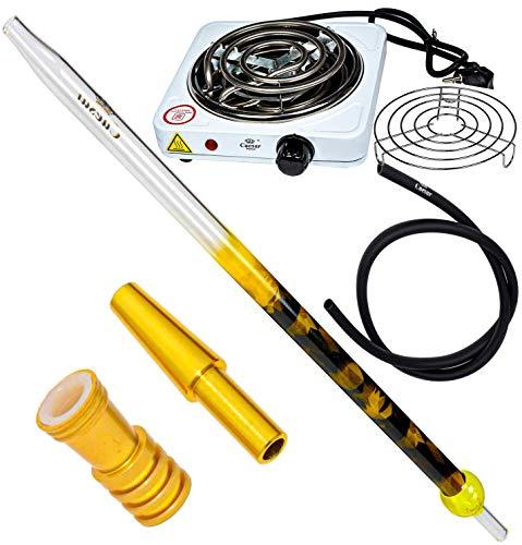 Caesar Shisha Set | Army Glas Mundstück 40cm (Yellow) | 1,50m Silikonschlauch (matt schwarz) | Schlauch-Adapter + Dichtung (Matt Gold) | Schlauch-Endstück (Golden) | Kohleanzünder Premium
