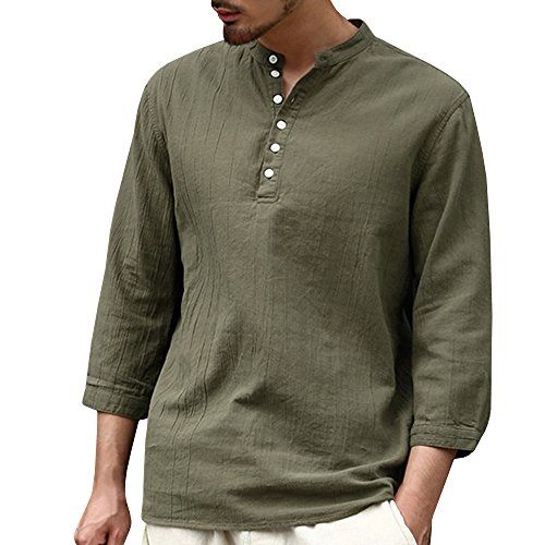 ShallGood Hombre Negro Camisa 100% algodón tailandés