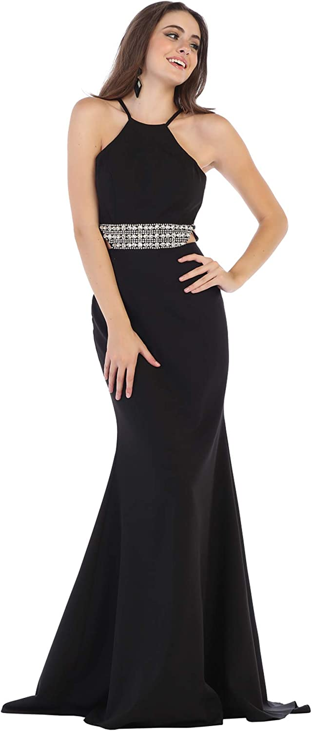 Formal Dress Shops Inc FDS7660 Special Occasion Halter Stretchy Gown