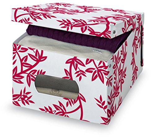 Domopak Living 8001410071712 Boîte Flair Large, Polyvinyle, Blanc/Rouge, 50 x 39 x 24 cm