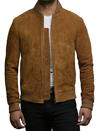 BRANDSLOCK Chaqueta de cuero para hombre, estilo vintage, retro, de piel de cabra, color marrón