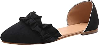Malbaba Womens Pointed Toe Ruffle D'Orsay Ankle Strap Ballet Flats Comfort Dress Shoes