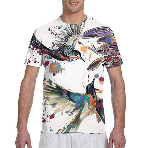 Haiyaner Art With Lily Flowers Birds And Color Splashes In Watercolor Painting Herren 3D All Print Graphic Premium T-Shirt 3XL