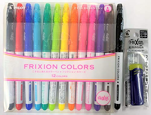 Pilot FriXion Colors Erasable Marker Assorted Ink 12 Colors FriXion Eraser and Extra Black Pen with the Original Sticky notes
