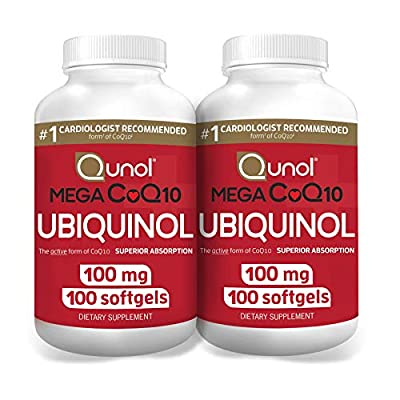 Qunol Mega Ubiquinol CoQ10 100mg, Superior Absorption, Patented Water and Fat Soluble Form of Coenzyme Q10, Natural Supplement Antioxidant for Heart Health, 100 Count, Pack of 2